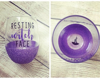 Resting witch face, fall wine glass, halloween wine glass, stemless, glitter dipped, Hocus pocus