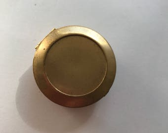 Brass pill box with cabochon setting
