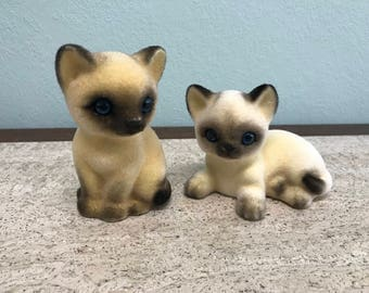 Vintage Fuzzy Cat Figurines Josef Originals Japan