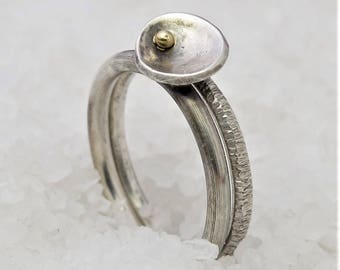 Stackable set of two minimal silver gold rings