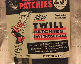 "Vintage Iron-On ""Patchies"". Original Package of 12 patchies."