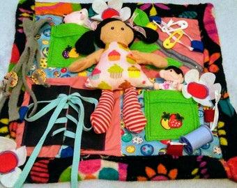 DELUXE FIDGET DOLL Blanket #3--Busy Blanket, Fidget Blanket, Alzheimer's, Dementia, Autism,Special needs, stroke