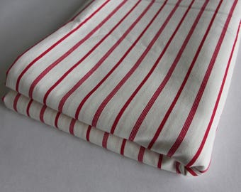 Cream with red stripe cotton
