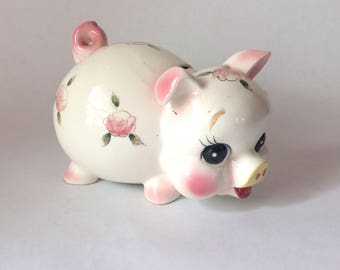 Adorable White With Pink Roses Vintage Piggy Bank