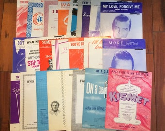 Vintage Piano Sheet Music Large Lot of 23 Many Titles On A Clear Day Musicals Kismet Classical