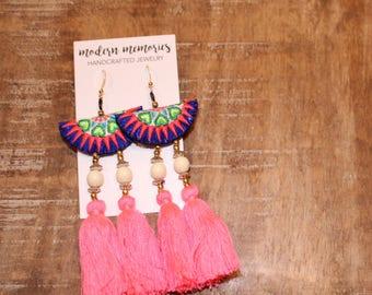 Neon Pink Tassel Earrings | Colorful Boho Earrings, Tassel Dangle Earrings, Tribal Earrings