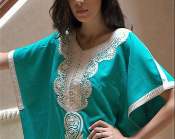 Handmade aqua green kaftan with cream embroidery
