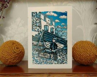 Fisherman  hand printed card