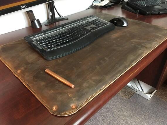 Full grain leather desk paddesk coverblotterdesk mat