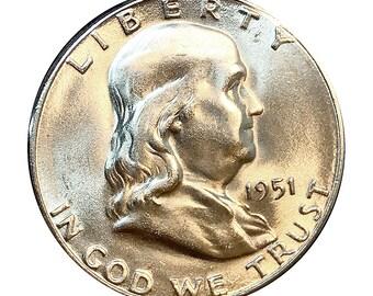 1951 S Franklin Half Dollar - Choice BU / MS / UNC