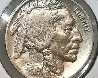 1916 P Buffalo Nickel - Gem BU / MS / UNC