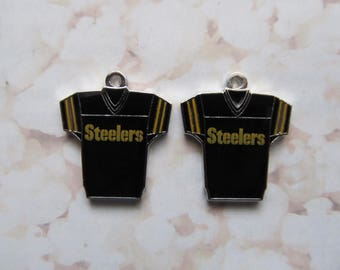Pittsburgh Steelers Logo NFL Football Dangle Charms - Jersey Style - 2pcs