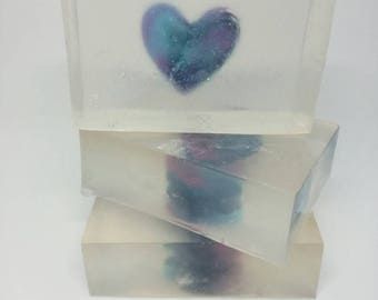 """Heart Soap, Glycerin Soap, Men Soap, Galaxy Soap, """"You are my Universe""""  Handcrafted Soap, Valentine's day, Scented, Unscented"""