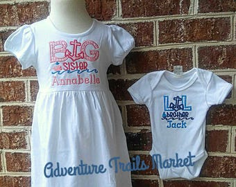 Anchor Sibling Set, Going Home outfit, Big Sister Dress, Anchor Dress, Going home dress, going home outfit, Anchor Outfit, Baby Gift
