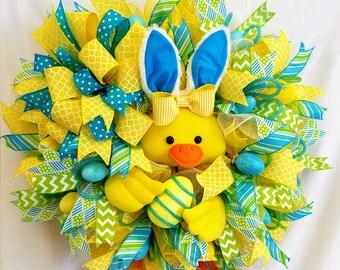 Easter Duck Wreath , Easter Decor, Duck Decor, Spring Wreath, Easter Bunny Duck Wreath, Front Door Easter Wreath, Easter Decoration