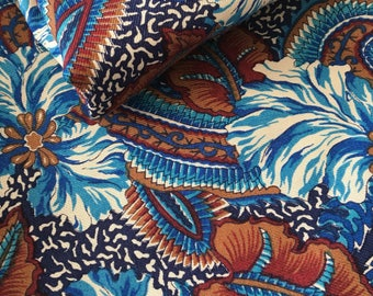 Blue and Brown Floral Cotton Fabric - Two Yards  - Cotton Fabric Floral Print Cotton - Quilt Cotton Fabric -Sewing fabric Boho Fabric Fabric