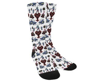 Kingdom Hearts Enemies Socks - Knee High Socks Videogame Socks Heartless Socks KH Socks Cosplay Socks Kingdom Hearts Socks Oddity Apparel