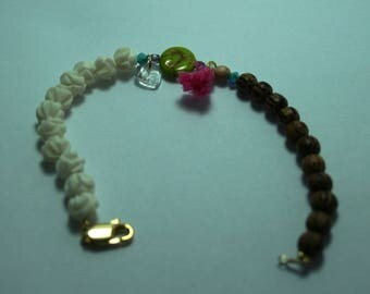 Bracelet with bird print lime green