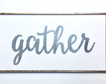 GATHER, Gather Sign, Large Gather Sign, Farmhouse Decor, Home Decor, Gather Wood Sign, Rustic Farmhouse Decor, Gather Wood Sign, Dining sign