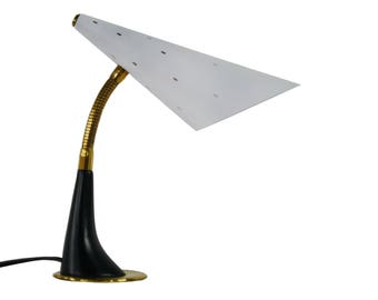 Modernist french table lamp 1950s - mid century brass table lamp - vintage black and white table lamp - vintage design table lamp