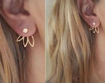 Delicate lotus ear jacket, Lotus earring,Sun ear jacket, Bar ear jacket,Bar ear cuff, chevron ear jacket, unique earring, cross earring