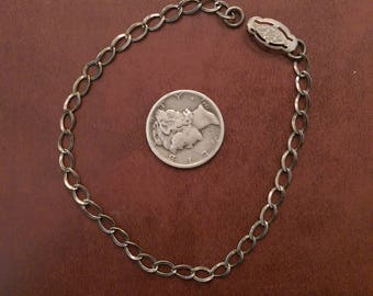7 and 1/8 inch vintage victorian clasp thin sterling silver starter charm bracelet