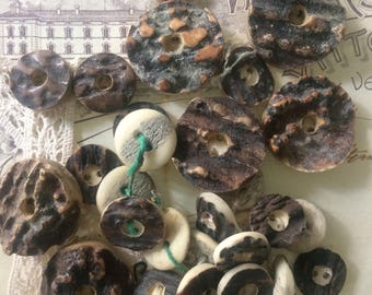 Brown buttons, wood shaped buttons, buttons in resin, vintage buttons