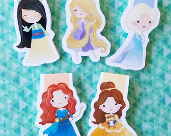 Five Princess Magnetic Bookmarks  (Set B)