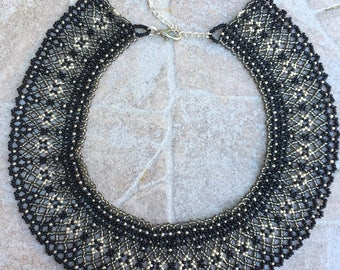Black silver beaded necklace