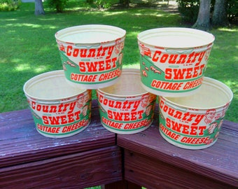 5 Vintage NOS Graybills Dairy Waxed Cottage Cheese Containers Cartons