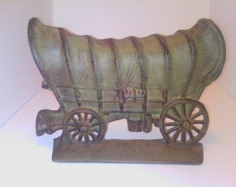 Vintage Heavy Cast Iron Covered Wagon Doorstop