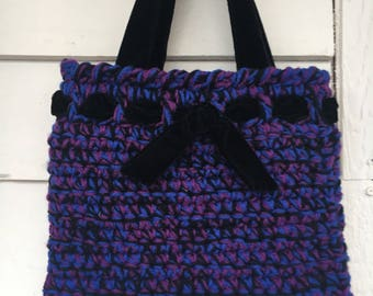 Crochet  tote bag with velvet-Batooli  Bags