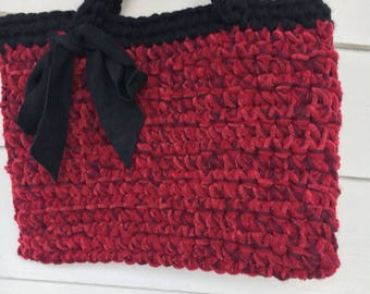 Chenille crochet tote with ultrasuede bow-Batooli  Bags