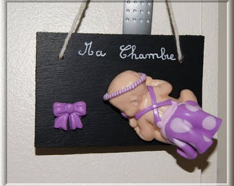 Small polymer clay baby door plaque