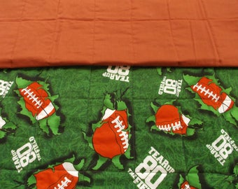 Football child quilt, baby quilt, toddler quilt, crib quilt, handemade quilt, nursery
