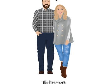 Illustrated Wedding Couple Portrait, Bride & Groom, Anniversary, Personalised Gift, Wedding Gift, Gifts For Couples, Personalised Gift