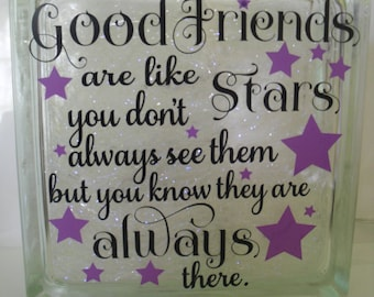 Decorative Lighted Glass Block - Good Friends Are Like Stars - Home Decor