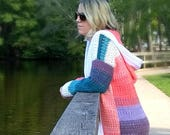 Crochet Colorblock Cardigan - CROCHET PATTERN ONLY!