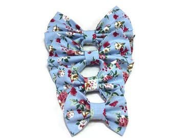 light blue floral , bow tie for dog , owner gift idea ,  for cats , for puppy
