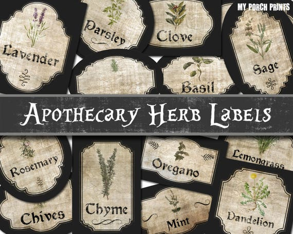apothecary labels herb labels spice labels potion labels