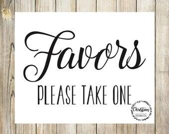 Favor Printable | Wedding Favor Sign | Favors Sign Wedding | Please Take One Sign | Favors Sign | Bridal Favors Sign | Bridal Favor Sign |