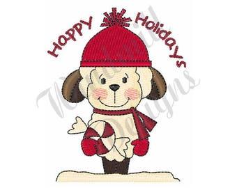 Happy Holidays Christmas Lamb - Machine Embroidery Design