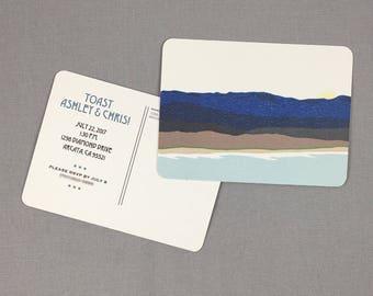 California Coast Toast to the Bride and Groom Shower Invitation Postcard