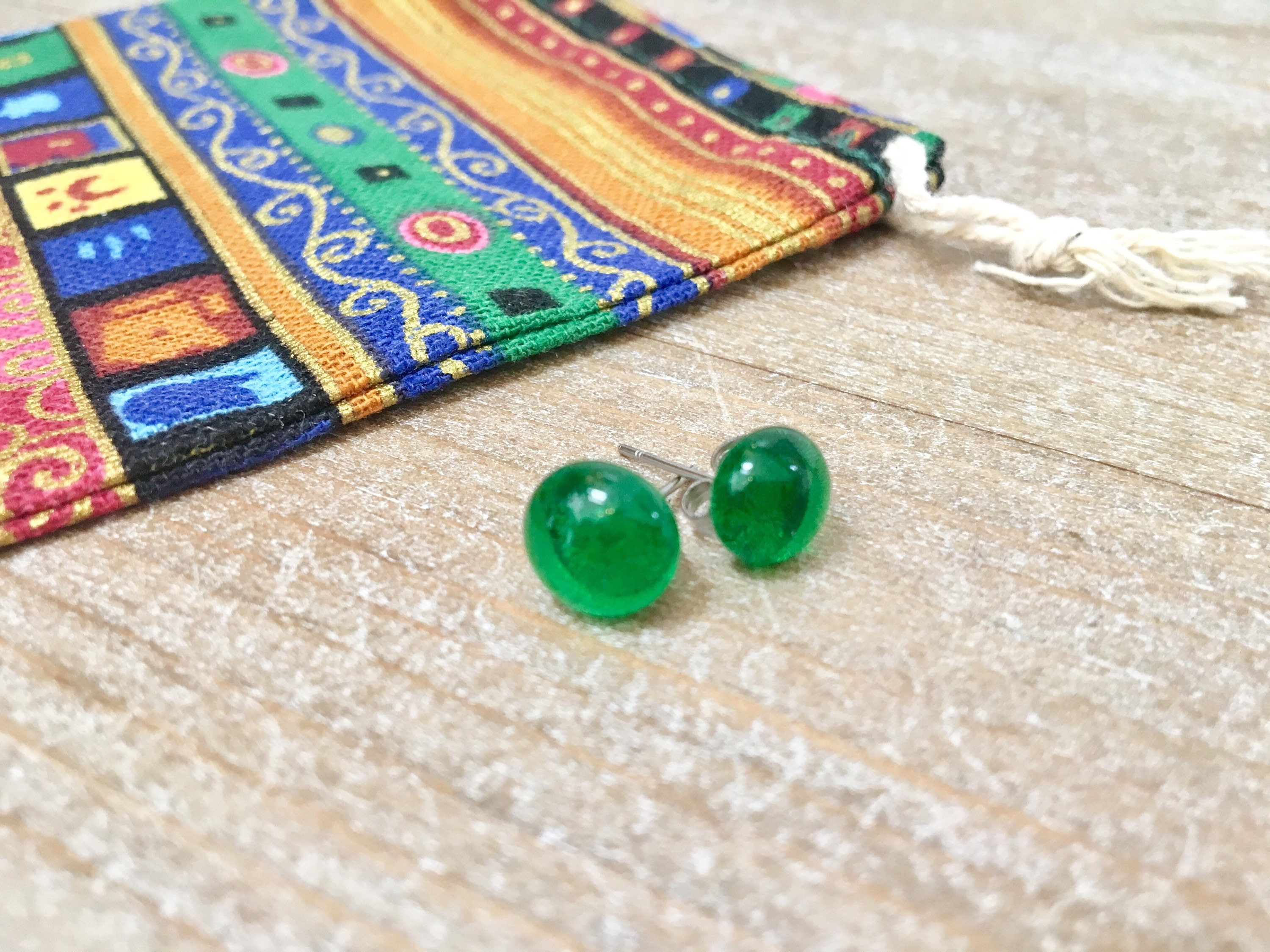 green triangular blue jewellry earing glass jewellery fresh stud earrings handmade