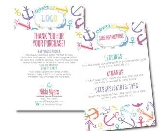 Lula Thank You Card, Care Card, Care Instructions, Return Policy size 4x6- Approved Fonts and Colors- Anchors Nautical Digital File