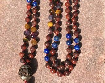 Natural gemstone 108 bead 8mm poppy jasper/lapis/tigers eye/amethyst bead mala /meditation beads /necklace