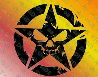 SVG Cut File JEEP Star Skull Instant Download