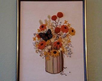 Vintage Cross Stitch Flower Bouquet Design