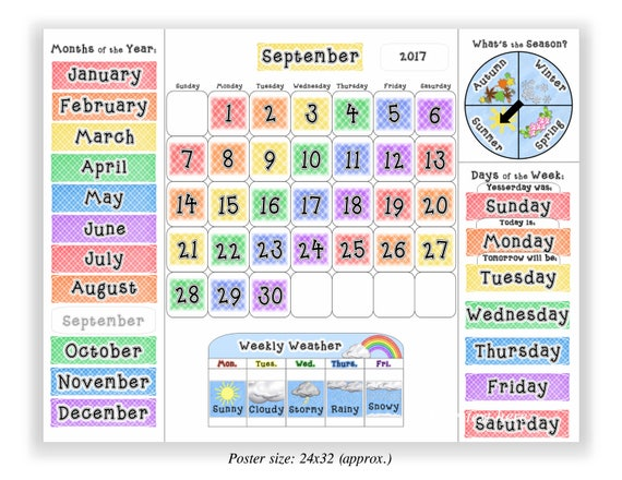 Classroom Calendar Days Of The Year : Calendar for kids learning classroom teaching months days