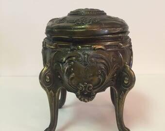 Ornate vintage metal footed trinket box